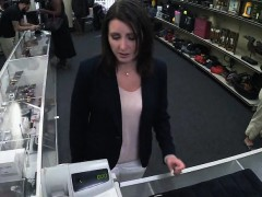 Customers housewife fucked by pawnkeeper in the backroom