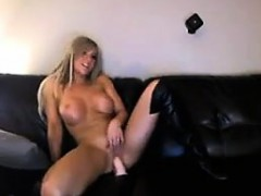 Busty Blonde Slut Using Her Dildo