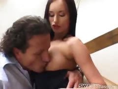 Watch Claudia Adams get pumped from behind!