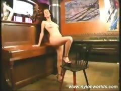Lustful doll in nylon stockings