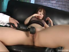 Riona Suzune looks sexy in black and her husband bends her
