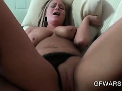 Busty blonde cunt nailed hard gets a messy facial in POV