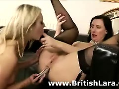 Anal toy for mature British lady in lesbian fun