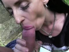 Hot brunette Emily gets fucked outdoor