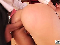 Allie Haze penetrated by two hard cocks