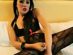 Asian Shemale Stroking Her Cock